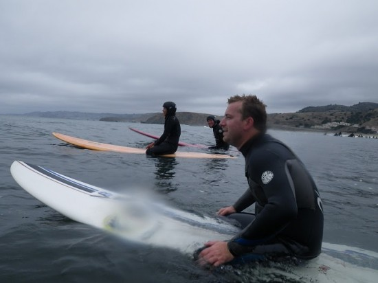 Luke joins us after getting barreled farther north, wearing kelp on his head.