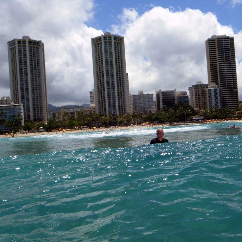 Looking back at Max and Waikiki from the water.