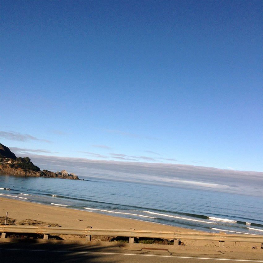 Stuck in traffic up the hill on my way out of Pacifica and caught this beautiful view as the sun came up.