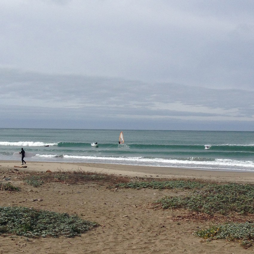 The windsurfer on his way out